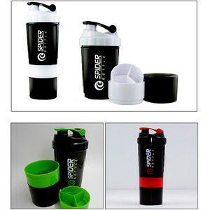3 en 1 Deportes botella de agua de la araña de la coctelera de la proteína para el recorrido de la aptitud con la escala pelota mezcla Insertado Taza de la bebida de la taza para Batido XD21948