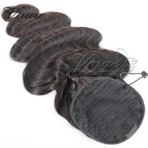 VMAE Brasiliana Naturale Nero 100g 120g 14 a 26 pollici tessuto diritto Onda del corpo coulisse Coda di cavallo Virgin estensione dei capelli umani