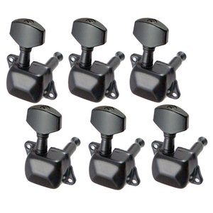 6 Pieces Semiclosed Iron Tuning Pegs Tuners Machine Heads 6R for Electric Guitar Parts Black