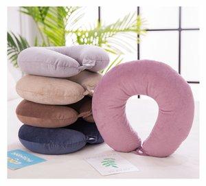 En forma de U Almohada de viaje por avión inflable Almohada para cuello accesorios de viaje 8 colores confortable Almohada para los regalos del sueño Textiles para el hogar