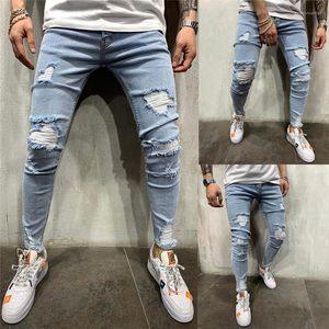 Bleu High Street Jeans Pantalones Automne Ripped Biker Jeans Hommes Vêtements printemps Drapée Slim Fit Lumière