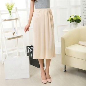Woman Half Slips Modal Solider Rock Petticoat Knielanges Kleid Lady Underskirts Vestidos Röcke Unterwäsche