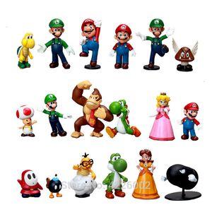 18pcs Супер Марио Луиджи Йоши Donkey Kong Пвх Действие Фигура Peach Daisy Купа жаба Miniatures Статуэтка Кукла Детские игрушки Y190604