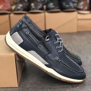 Box ile Yeni Moda Erkekler pik tekne Loafer ayakkabı Tasarımcı Günlük Ayakkabılar Gerçek Deri Erkek Hafif Kayma-on Kauçuk taban Parti Düğün Ayakkabı