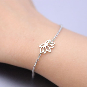 Wholesale 10ps lot Ajustable Lotus Flower Stainless Steel Charm Bracelets Couples Women Girls Loved Fashion Jewelry Lucky Birthday Gift