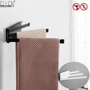 Bagno asciugamani Mensola da bagno mobile supporto del tovagliolo di 3 strati Alluminio Nero ELM17 Finito