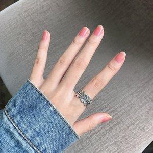 Japonês fresco coreano Silver Ring retro tailandês simples elegante Anéis Folha criativa Exagero ajustável Homens e mulheres Forefinger