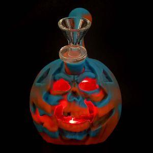"Rig & Pumpkin Bowl Pipe With Dab Bong Silicone Dab Portable Halloween 6"" Glass Water Skull LED Light Rig Jitvl"