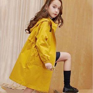 2020 cabritos del abrigo de algodón ocasional de la capa de la chaqueta de las muchachas adolescentes Para otoño con capucha largo prendas de vestir exteriores a prueba de viento Ropa niños