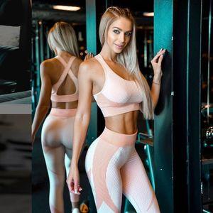 Trajes de yoga Conjunto sin fisuras Gimnasio Ropa de aptitud física Top Sportswear y Leggings de alta cintura Sport Traje Push Up Ropa de entrenamiento para mujeres