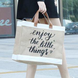 Mulher de linho Tote Grande Capacidade ocasional Bolsa Vintage letra impressa praia das senhoras ombro saco de compras