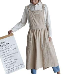 Tablier de coton et jupe plissée nordique avec bavette en lin avec poche à fleurs Coffee Shop Cuisson Cuisson Artisanat Jardinage