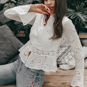 Aisiyifushi Vintage White Tops für Frauen Weißes Hemd Bluse Frauen Shirts Langarm 2019 Damen Tops und Blusen Spitze Patchwork SH190907