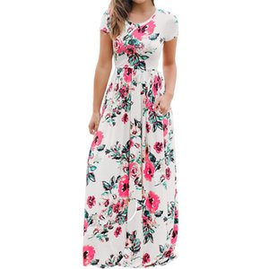 Women Floral Print Short Sleeve Boho Dress Evening Gown Party Long Maxi Dress Summer Sundress Clothing