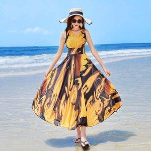 Sandy Beach saia à beira-mar em férias mulher verão 2019 Posimi segunda Longuette fundo à noite tremendo sapatos vestido de chiffon