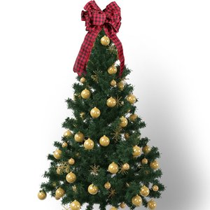 Nueva decoración navideña Plaid Bow Tree Top Decorativo Bow Red Scene Arrangement