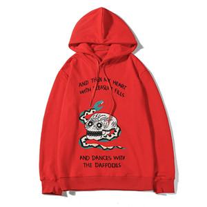 20SS Мужские толстовки Стилист Мужские длинные рукава вскользь толстовки мужские Стилист звезд Streetwear Черный Красный