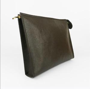 Nueva bolsa de aseo de viaje 26 cm Protección de maquillaje Embrague Mujeres Cuero genuino Impermeable 19 cm Bolsas de cosméticos para mujeres 47542