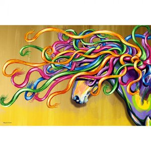 Horses art abstract painting canvas Majestic Horse hand painted colorful animal paintings for wall decor Gift