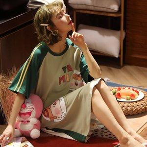 القطن المرأة باس النوم باس النوم الفتاة لطيف 2020 الصيف قصير الأكمام الكرتون خدمة عارضة المنزل