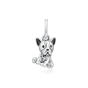 2019 Día de la Madre 925 joyería de plata esterlina Bulldog granos del encanto cuelga el perrito adapta pulseras Pandora collar para hacer que las mujeres de bricolaje