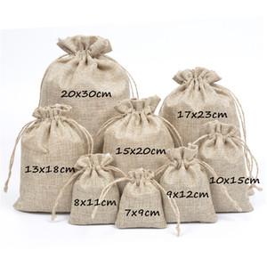 Hessian Rustic Yute Gifts Bolsas Burlap Jute Drawstring Gift Joyas Bolsas Bolsas 7x9cm 8x11cm 9x12cm 10x15cm 13x18cm 15x20cm 17x23cm 20x30cm