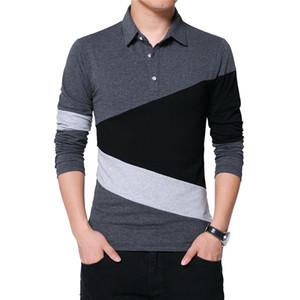 BROWON Autumn Fashion Plus Size 5XL Mens T Shirt with Collar Color Patchwork t-shirt Long Sleeve Tshirt Men Clothes 2019 T200111