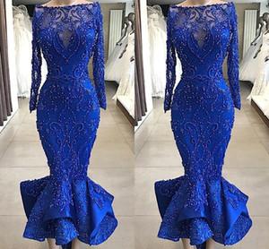 Immagini reali di lusso Royal Blue Mermaid Prom abiti da sera Bateau collo perle di perline vestitino corpetto arruffles caviglia abiti da cocktail corto