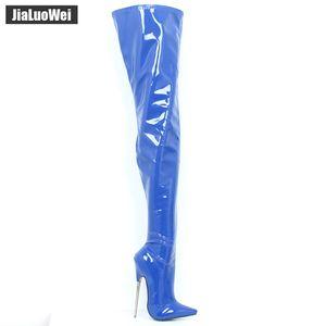 "Jialuowei 7"" Ultra High Heel metallo Cuoio Scarpe a punta Zip Boots Fetish sexy unisex biforcazione lungo a metà coscia Stivali Size 36-46"