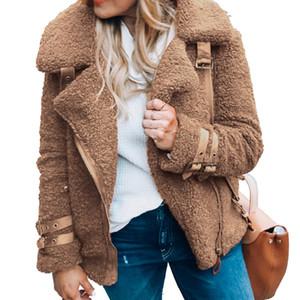 Joineles Plus Chaqueta de felpa tamaño de las mujeres 3XL manga larga sólida de la solapa de imitación de piel de oveja Zip Up ocasional de la capa de la chaqueta de invierno Bolsillos caliente T191018