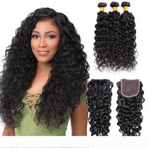 Mongolian Human Hair 3 Bundles With Lace Closure water Wave Curly Cheap Hair Extensions 95-100g piece Natural Color