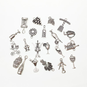 Charms of Mixed Red Wine Bottle Opener Antique Silver Color for DIY Bracelet Necklace Keychain Earring Jewelry Finding Gift Macking
