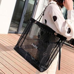 Schwarze Gaze-Maschen-Strand-Tasche! Luxushandtaschen-Frauen-Ineinander greifen-Beutel-Pariser Art-Kettenstrand-Beutel-Tote L Schulter-Beutel-Designer