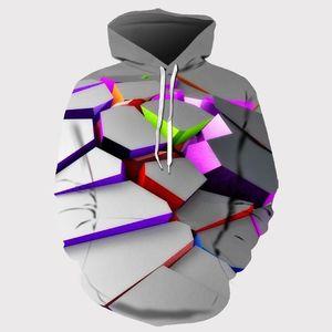 Europa und Amerika Männer / Frauen Hoodies mit Hut Hoody Print Color Blocks Herbst-Winter-3D-Sweatshirts mit Kapuze Hood Tops Großhandel
