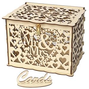 DIY MRMRS Caja de la tarjeta de la boda Tarjeta de la muestra de madera para la recepción Aniversario Ducha Nupcial Decoraciones del partido del amor del corazón