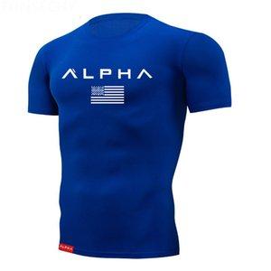 2019 New Fashion Letter T-shirt Men's Summer Print Hip-hop T-shirt Multicolor Shirt Tight Top Fitness Clothes