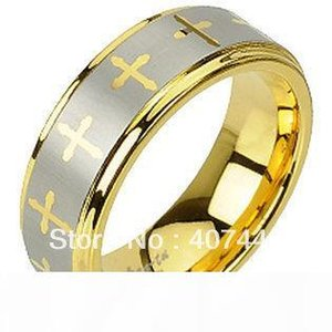 Free Shipping USA Hot Selling 8MM Tungsten Carbide Yellow Gold Color Laser Engraved Crosses Design Mens Women Wedding Band Ring q170717