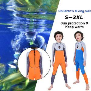Moda Scafandro per i bambini di un pezzo Diving Suit Accessori Kid a manica lunga Swimsuit Warm Surf Jellyfish Abbigliamento