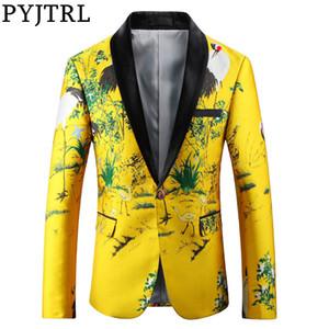 PYJTRL Erkekler Lüks Jakarlı Sarı Altın Slim Fit Blazers Çince Style Moda Casual Ceket imzalayanların Giyim