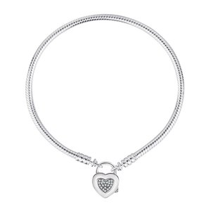 Newest 925 Sterling Silver Moments Heart Padlock Clasp Bracelet & Bangle Fit Bead Charm Diy Women Jewelry