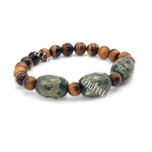 10pcs tibétain DZI perles rouge jaune vert agate yeux Totem amulette Bracelet avec cristal de quartz oeil de tigre naturel Bead-Cleanse Negative Energy