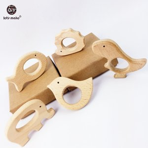 Let s Make bébé Teether forme naturelle en bois Animaux Teether Jouet 20PC Perles animaux Unfinished Baby Safe sensorielle Saisissant Jouet LY191202