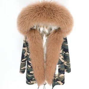 Hot vente MAOMAOKONG Marque brun Mongolie moutons fourrure Sweat à capuche fourrure doublure garniture lapin blanc brun parkas longues patte de camouflage