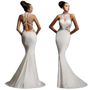 Yuvarlak yaka kolsuz seksi sırt dikiş etiketi 2019 Avrupa gece elbisesi fishtail etek salıncak elbise trendi kalça