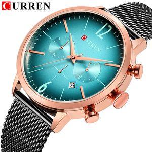 CURREN Top Brand Mens Sport Watches Creative Design Chronograph Quartz Wristwatch Steel Band Date Clock Relogio Masculino Reloj