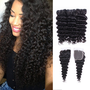 Brazilian Wave Wave Hair 3 Pacotes com 4 * 4 Lace Fechamento Natural Color Double Wew No Shedding Tecelagem