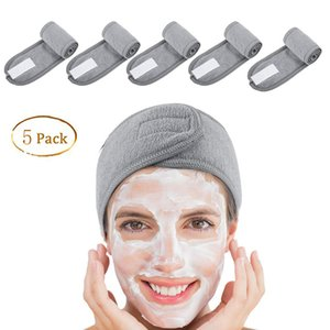 5 PCs Spa Facial Stirnband Make Up-Verpackungs-Kopf Frottier Stirnband Stretch-Tuch mit Magic Tape