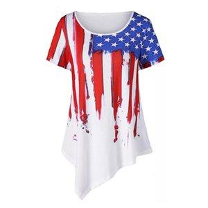 Kadın Kısa Kollu Üstleri Kadın T Gömlek Çizgili Yıldız Baskı Düzensiz Rahat Giysiler Amerikan Bayrağı Bağımsızlık Ulusal Gün ABD 4th Temmuz