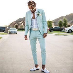 2019 Mint Green Herren Anzüge Slim Fit Zwei Stücke Strand Groomsmen Hochzeit Smoking Für Männer Erreichte Revers Formal Prom Suit (jacke + Pants)