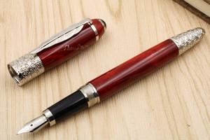 كتابة الأعمال هدية معدن أحمر فضي offiice جديد Lacquerred Fountain Pen